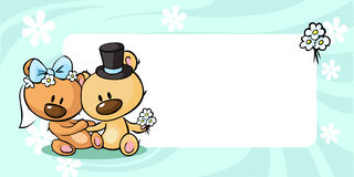 Bears in wedding dress lies on horizontal design - vector Royalty Free Stock Image