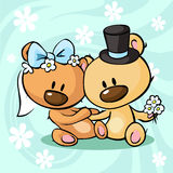 Bears in wedding dress sitting on abstract background - vector Royalty Free Stock Photography