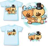 Bears in wedding dress sitting - shirt vector Stock Photo