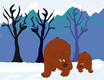Bears in the woods. Vectors illustration shows two bears in the woods stock illustration