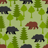 Bears in  woods as a seamless pattern.  Grizzly and  trees Stock Image