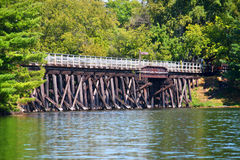 Bearskin State Trail Minocqua Wisconsin. Rustic wooden trestle across the Bearskin State Trail in Minocqua Wisconsin royalty free stock image