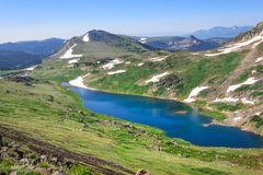 Beartooth Pass - Gardner Lake. Peaks of Beartooth Mountains, Shoshone National Forest, Wyoming, USA. royalty free stock photography