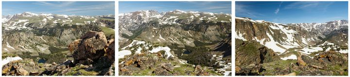 Snowcap high mountain top collage. Beartooth rocky mountain top high range America USA snow cover hills canyons gorge alpine tundra vegetation spectacular rural Royalty Free Stock Photography