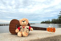 Beary戏剧吉他 免版税图库摄影