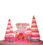 Beary Christmas Trees. Pink Beary Christmas trees with gifts Stock Photos