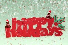 Beary frohe Feiertage mit Schnee Stockfotos
