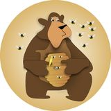 Beary honey Pot. Bear holding honey pot, with bees swarming around.. trying to protect their hive Stock Photography