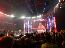 Beast Brock Lesner stands in the ring with Paul Heyman ready for Stock Image