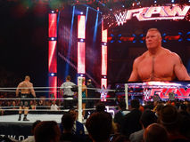 the Beast Brock Lesner stands in the ring with Paul Heyman ready Royalty Free Stock Photo