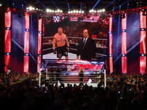 The Beast Brock Lesner stands in the ring with Paul Heyman upset Royalty Free Stock Images