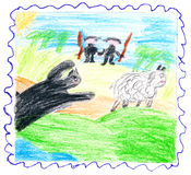 Beast catches sheep. Hunters rush to help. Child's drawing - the beast catches the sheep. The hunters rush to help royalty free illustration