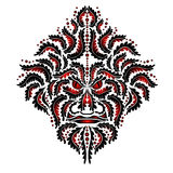 Beast demon spirit red face tribal tattoo. There is a abstract face Royalty Free Stock Image