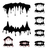 Beast jaws set. Beast jaw silhouettes collection vector illustration - original artwork made with using graphic board Stock Images