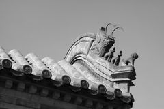 Beast sculpture in the eaves in a temple, China Royalty Free Stock Image