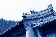 Beast sculpture in the eaves in a temple Royalty Free Stock Photography