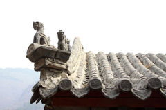Beast sculpture in the eaves in a temple Royalty Free Stock Images