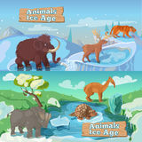 Beasts Ice Age Horizontal Banners Stock Photography