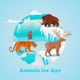 Beasts Ice Age Round Design. With rhino tiger and deer giant beaver in frozen wildlife vector illustration stock illustration