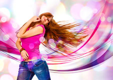 Beat 03. Young girl dancing in discolight Stock Photos