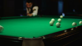 Beat in billiards. Russian billiards, board game on a table stock video footage