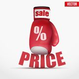 Beat Cheap prices. Boxing glove. Stock Photo
