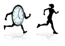 Beat the clock runner. Running against the clock conceptual design. Woman trying to beat her best time or concept for being under time pressure Stock Images