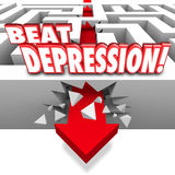 Beat Depression Words Maze Arrow Overcome Mental Illness Disease. Beat Depression 3d words on a maze and arrow breaking through the wall to illustrate overcoming Stock Photo