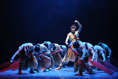 Beat the drums to encourage -The second act of dance drama-Shawan events of the past Stock Image