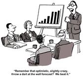 Beat Forecast. The cartoon shows a meeting room with a leader beside a chart with bars indicating sales growth.  The leader is telling the team members that they Royalty Free Stock Image