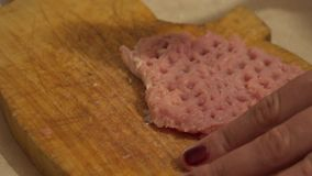 Beat the Meat. Fried Meat Making With Raw Ingredients.. 4K UltraHD, UHD stock footage