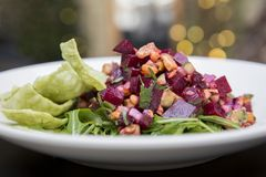 Beat Salad. Horizontal photograph of a beat ceviche salad royalty free stock photo