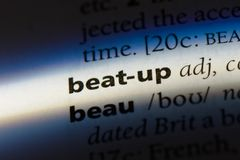 Beat-up. Word in a dictionary.  concept royalty free stock photography