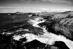 Beat of waves on a beach on Lofoten Islands Royalty Free Stock Images