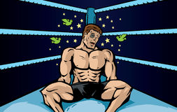 Beaten Boxer. Cartoon of a knocked out fighter Royalty Free Stock Photo