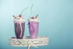 Smoothies. Are beaten with cream in the style of the sixties stock images