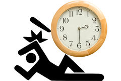 Man crushed by clock Royalty Free Stock Image