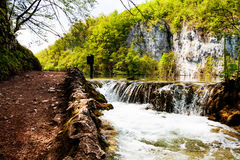 Beaten track near a forest lake and waterfall in Plitvice Lakes Stock Photography