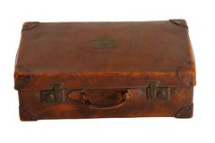 Beaten-up vintage luggage. Isolated on white Royalty Free Stock Image