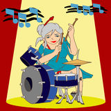 Beater Drummer Lady. A woman who was performing drumming Royalty Free Stock Image
