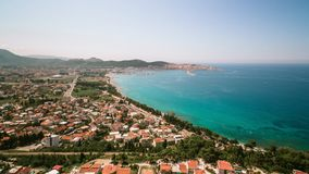 View to coastal town from drone stock photography