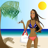 beatiful bikini patriotic woman Στοκ Εικόνα