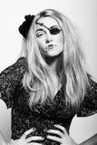 Beatiful blonde with abstract pirat Stock Photos