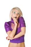 Beatiful blonde model. On white background Royalty Free Stock Image