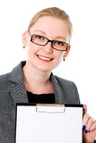 Beatiful business woman with a white banner. Stock Photo