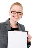 Beatiful business woman with a white banner. Stock Image