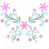 Hand drawn beatiful butterfly. Beatiful butterfly vector drawn with flowers and branches royalty free illustration