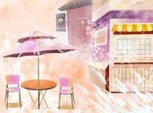 Beatiful cafe. On urban street - eps10 Royalty Free Stock Photo