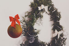 Beatiful christmas ball and decorated garland from thuja tree Stock Images