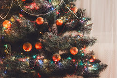Beatiful christmas decorated tree in shining lights Royalty Free Stock Images